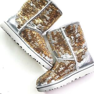 UGG Classic Short Women's Size US 7 Cosmos Sequin Sparkly Boots - Gold Silver