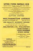 Sutton United v Walthamstow Avenue 1973/4 (24 Nov) Isthmian League