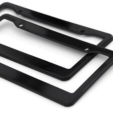 2pc OxGord Abs Black Plastic License Plate Frame Tag Cover for Car Suv Van Truck