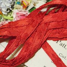 "1y 3/8"" FRENCH RED SATIN BOW TRIM RIBBON VTG DOLL DRESS ROSETTE JACQURD ROCOCO"
