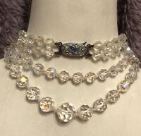 Glass Twin Strand Necklace 1950s 1960 Aurora Borealis Interlocking Clasp Vintage