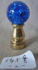"Lamp Finial BLUE crackle glass ball br. base 1 1/4""h x 5/8""dia (priced per each)"