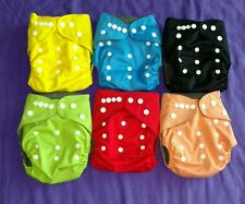 Lot of 6 Solid Charcoal Bamboo Pocket Tagless ALVA cloth double-gusset diapers