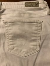 Adriano  Goldschmied Women's Jeans The Stilt White Cigarette Roll Up Size 28