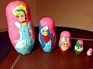 Cinderella Matryoshka Russian Nesting Wooden Dolls Set 5pc