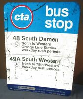 Used/Vtg CTA Bus Stop 48 S DAMEN/49A WESTERN Chicago Aluminum Sign 24 x 18 S628