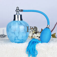 Vintage Crystal Perfume Blue Long Spray Bottle Atomizer Refillable Empty 150ml