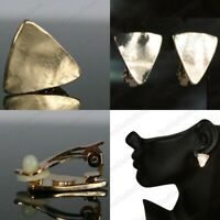 CLIP ON small TRIANGLE EARRINGS glossy mirror metal GOLD PLATED geometric modern