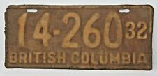 Antique 1932 British Columbia License Plate Very Rare Collectible Tag