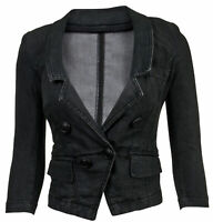 Women's Juniors Long Sleeve Denim Blazer Fitted Jacket