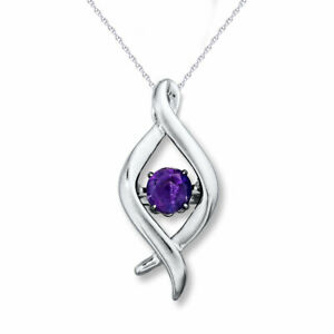 """Round Amethyst Dancing Solitaire Pendent W/18"""" Chain 925 Sterling Silver"""