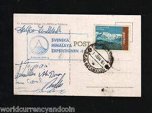 NEPAL 1981 SWEDISH SWEDEN HIMALAYA MOUNT ANNAPURNA EXPEDITION SIGNED PICTURE PC
