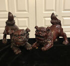 Vintage Pair Of Fo / Foo Dogs Red Brown Resin Wealth Protection Luck
