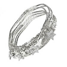 Sale:  Beautiful Costume Jewellery: Hammered Silver Multi-Bangle Set with Cry...