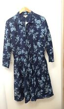 GAP Women LS Pleat Dress Big Navy Floral XL Cotton