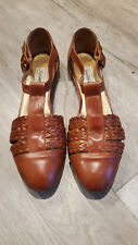 Vtg Womens Saks Fifth Avenue Brown Woven Gladiator Sandals Flats Shoes Size 11B
