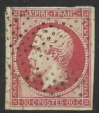 France, 80c Napoleon imperf, Sc#19, roller cancel, partly US or GB red transit