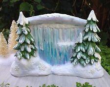 Miniature GARDEN Mini Village ~ SNOW FAIRY CHRISTMAS Waterfall Trees Backdrop