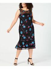 CALVIN KLEIN Womens Black Sleeveless Tea-Length Sheath Formal Dress 14W Plus