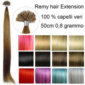 25 REMY HAIR EXTENSION capelli umani VERI 100% CHERATINA CIOCCHE 0,8g 53cm