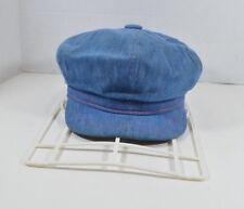 Vintage 50s United Hatters Union Conductors Hat Medium Light Blue Denim