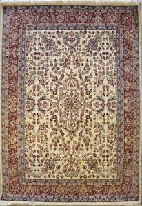 Rugstc 5x8 Senneh Pak Persian White Area Rug, Hand-Knotted,Floral with Wool Pile