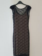 RIVER ISLAND SIZE 10 BLACK NUDE SLEEVELESS LACE  DRESS