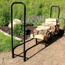 Sunnydaze Log Rack 8' Black Steel Outdoor Firewood Stacker Storage Holder