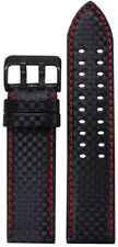 20mm PM Black Carbon Fiber Style Watch Band w/Red Stitch & 2 Tang PVD Buckle