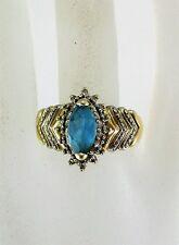 10K YELLOW GOLD MARQUISE BLUE TOPAZ & DIAMOND RING (SIZE 8.75) 3.9G