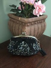 Coach Ocelot Wallet Coin Purse Bag Framed Kisslock F60715 Black Silver W25