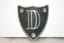 NOS 1920's-1930's Monogram Full Size Metal Motometer Cap Shield Letter D Black