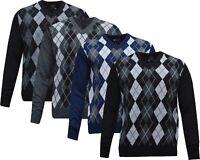 Mens Argyle Diamond Long Sleeve V-Neck Jumper Top Pullover Winter Golf Top M-XXL