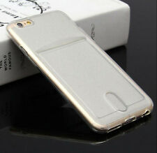 Credit Card Holder Soft Clear Gel Back Protective Case For iPhone 6 6S 7 Puls