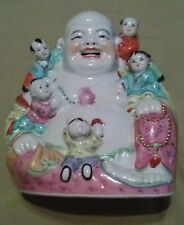 Vintage Chinese Porcelain Laughing Buddha Figure with 5 Children Numbered 21