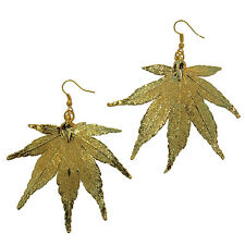 / Plated Earrings French Wire Dangle Large Japanese Maple Leaf 24k Gold Dipped