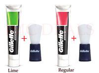 Gillette Shaving Cream + Shaving Brush Combo Pack, Regular, Lime, 30g & 70g