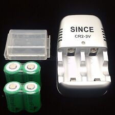 4 PCS UltraFire CR2 CR-2 15270 800mAh 3.0V Rechargeable Battery + 1 PC Charger