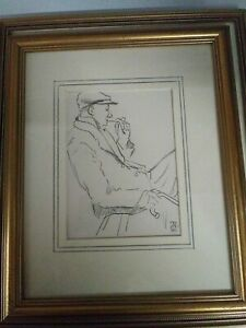 Drawing Sketch Of Man With Pipe