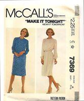 Vintage 1980 McCalls 7369 Sewing Pattern Misses Slim Dress with Back Zipper Sz 8