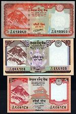 5, 10, 20 Nepal Rupee Set of 3 Rastra Bank notes NEW UNC Animals Mt. EVEREST
