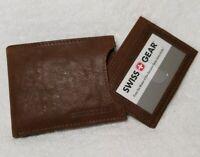 SWISS GEAR MEN SLIM Light Brown LEATHER BIFOLD w/Removable ID Wallet SGW230.71