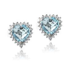 925 Silver 5.5ct Blue & White Topaz Heart Stud Earrings