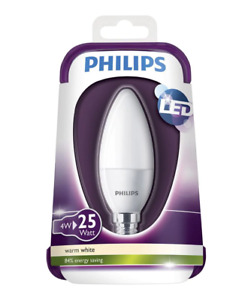 Philips E14 4W 250lm Candle Warm white LED Light bulb , pack of 2