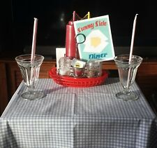 Cafe Diner table condiment stand parfait glass straw holder Soda Fountain set up