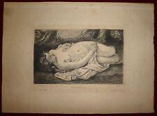 Courbet Gustave Femme nue couchée 1878 Eau-forte Gazette des Beaux-Arts Waltner