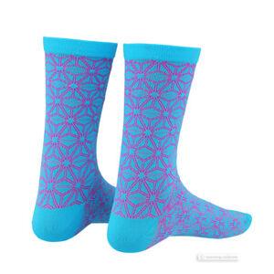 Supacaz SupaSox ASANOHA Tall Cycling Socks NEON PINK/NEON BLUE - One Pair