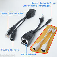 10pairs Power Over Ethernet 30M Passive PoE Separator Adapter Injector+Cable Kit