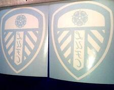 2x Leeds United White Vinyl Window Stickers Car Van Bus Patio Door Graphic LUFC