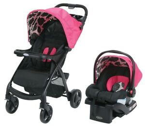 Graco Baby Verb Click Connect Travel System Stroller w/ Infant Car Seat Azalea
